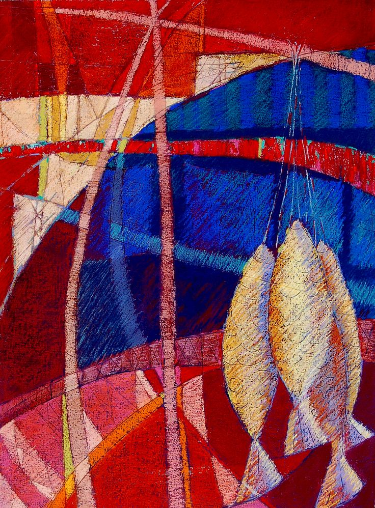 Four Fish Pastel on Paper 76cms x 56cms