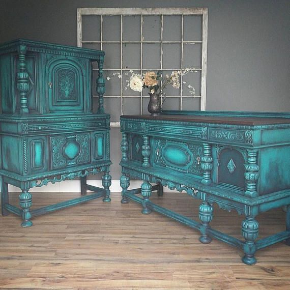 Vintage painted refinished ornate Jacobean china cabinet, hutch, furniture in layered bold turquoise teal blue green Modern Vintage ***PICK UP ONLY*** Shipping is not available One of the most fantastically ornate pieces I have ever had! Layers of bold turquoise highlight all of the many