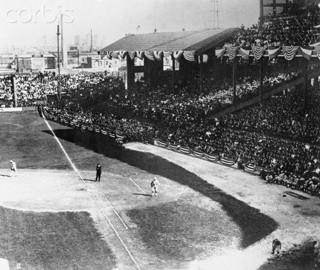 Comiskey Park, 1919 World Series. Note how the far right field seats would have a terrible view of field. That must be Gandil at first for White Sox.