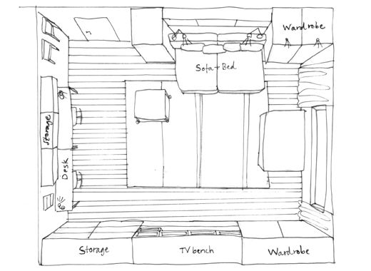 A hand-drwan sketch of the layout of a living room.