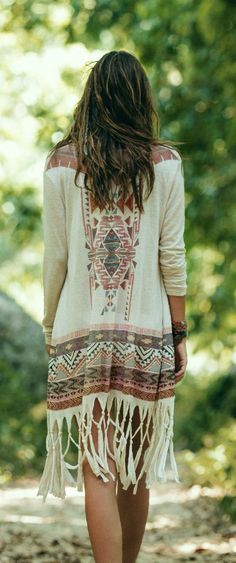 Bohemian fringe cardigan #Unique_Boho_Style