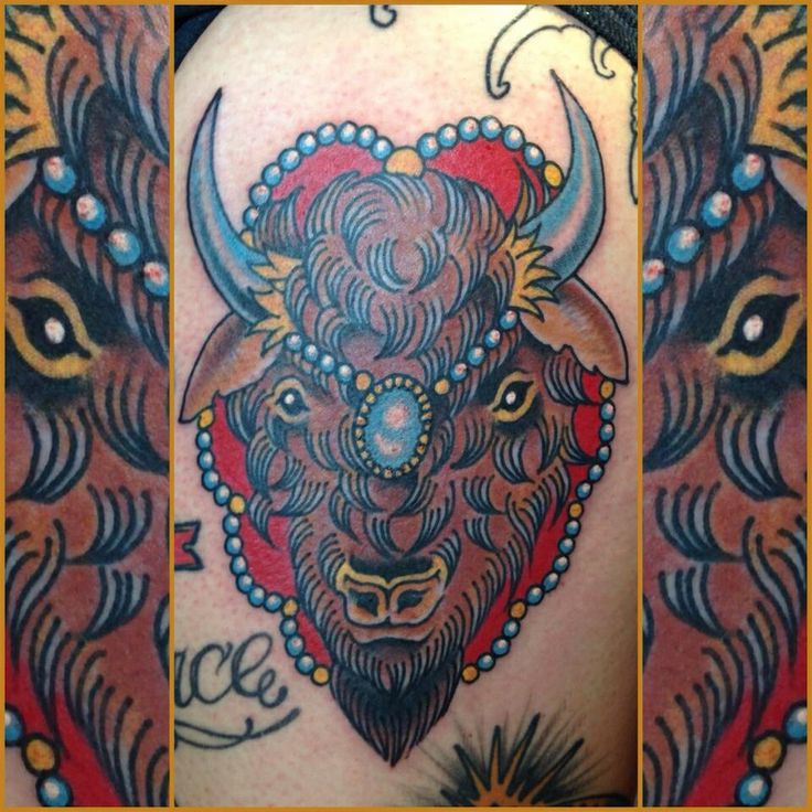 43 best images about tattoos i like on pinterest glow for Traditional bison tattoo