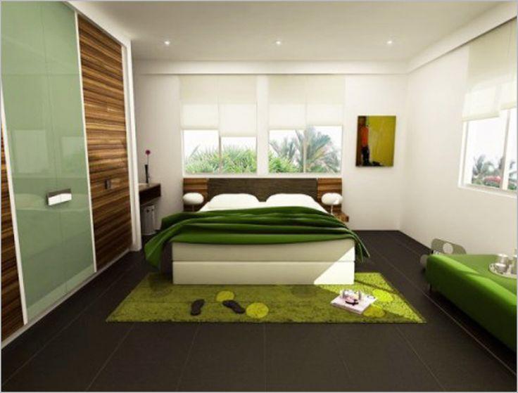 Bedroom, Romantic Fresh Greeny Bedroom Design Glass Window Green Fur Carpet  Modern Bedroom Furniture Large Wardrobe With Sliding Door Tile Flooring  Design ...