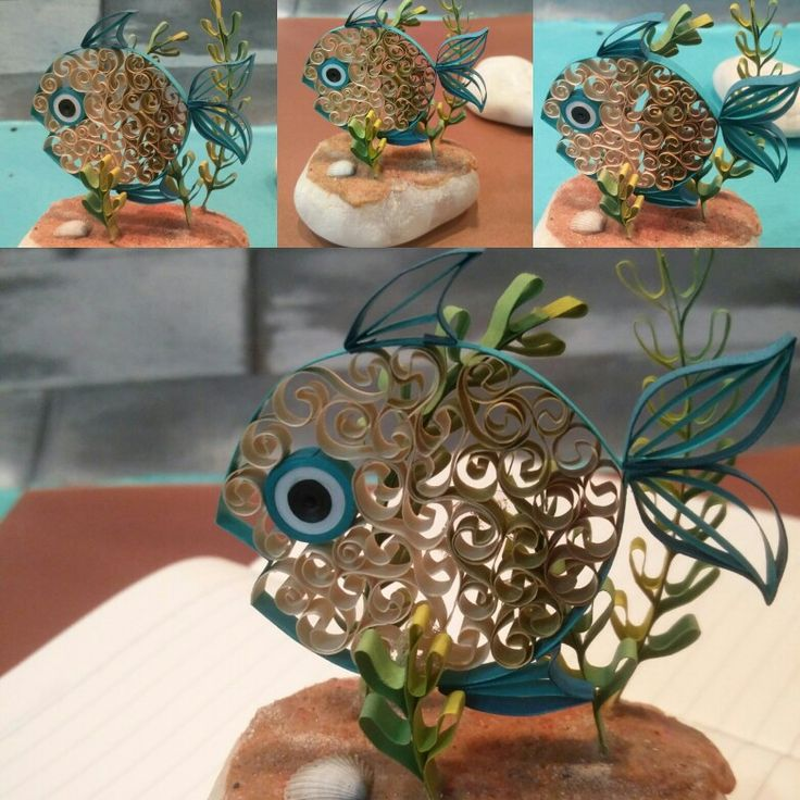 Paper quilled fish paperweight