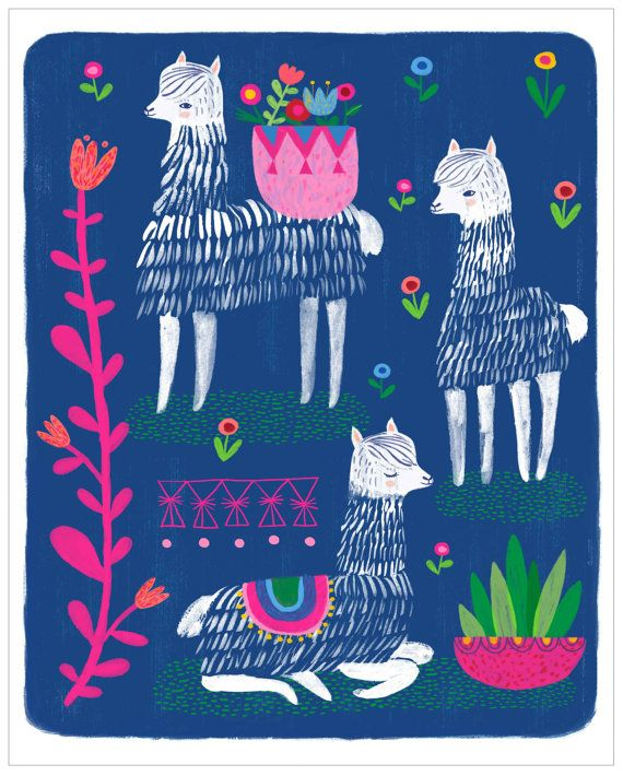 Happy Alpacas by Sarah Walsh/PetitReve on Etsy
