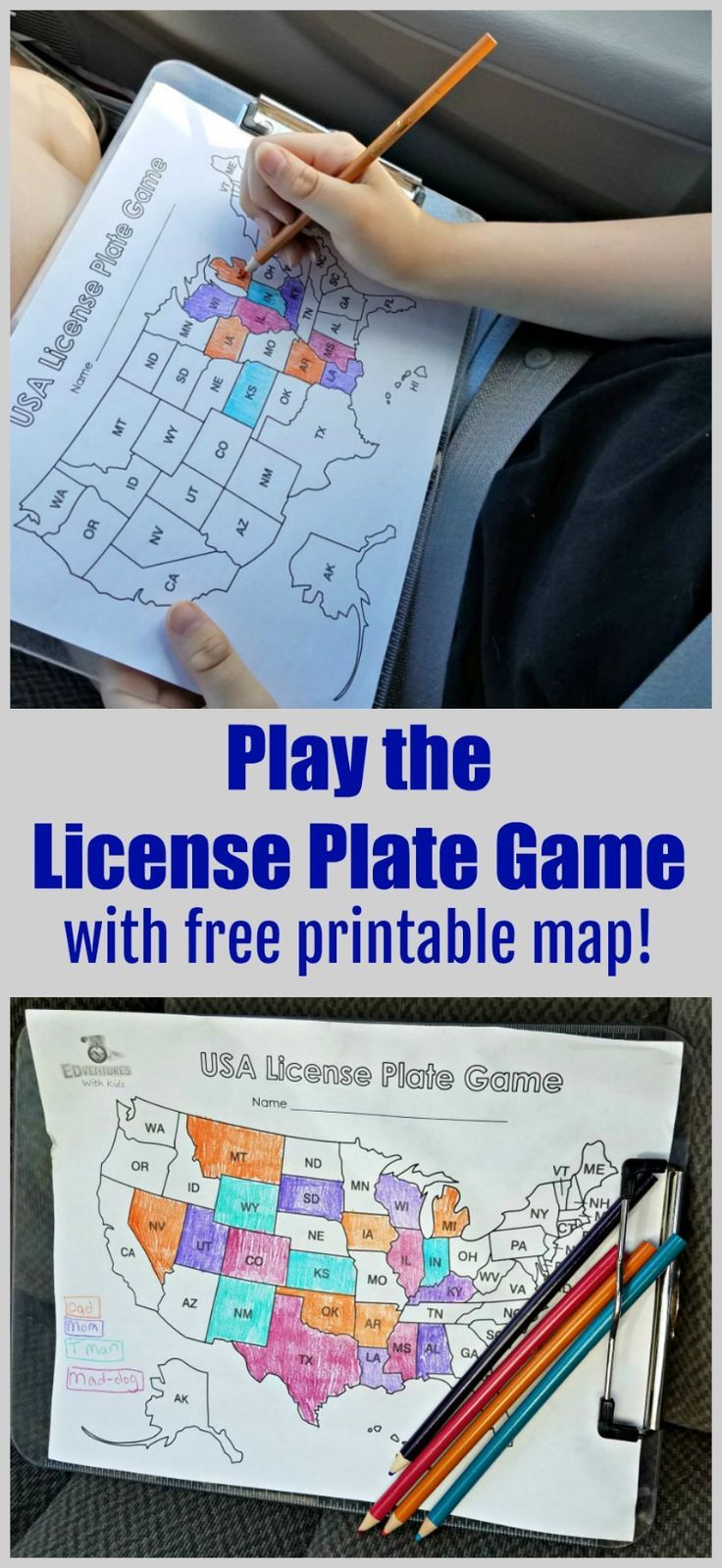 License Plate Game Printable