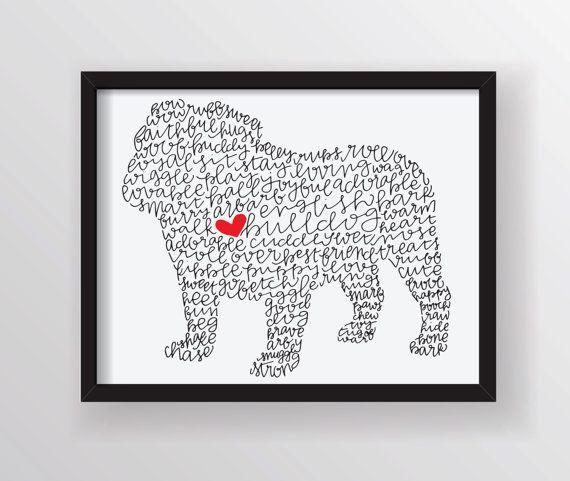 English Bulldog Illustration Print by ManayunkCalligraphy on Etsy