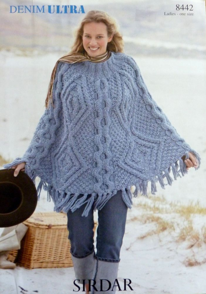 Knitting Pattern Ladies Fringed Poncho One Size Sirdar