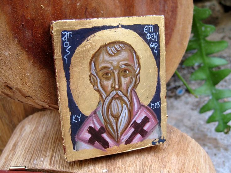 St. Epiphanius the Bishop of Cyprus, a Church father and student of another great Saint, St Hilarion (or Larkos as it is called in Cyprus) This icon is part of a whole series I wanted to make, to represent saints with Greek names, church fathers, theologians, hymnographers, Bishops and Hieromartyrs. I ve worked on small pieces to paintminiature carry-on icons that would make a very personal, very delicate -like a jewel- gift.
