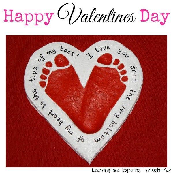 Valentine's Day Crafts - Footprint Hearts #make #gift #idea