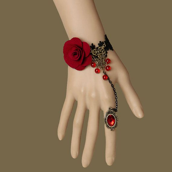 Vintage Gothic Red Rose Crystal Beads Palace Lace Flower Ring Bracelet, DIY Dainty Vampire Bronze Slave Bracelet,Bridesmaid Gift,Hand Chain