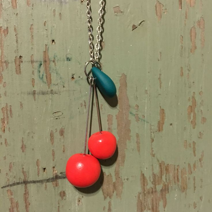 Cherry necklace kirsikka kaulakoru handmade by Cherryann polymer clay
