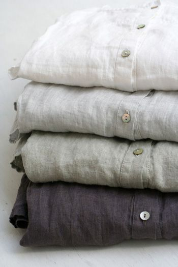 Linen shirts in dove gray, charcoal, white, Hannahlore
