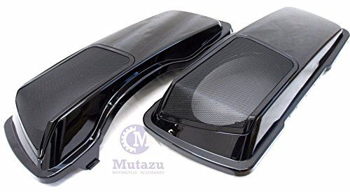 Mutazu CVO 6 x 9 Speaker Lids Vivid Black for Harley Touring Saddlebag 1994-2013:   Turn your regular saddlebags into a party boom box by simply exchanging out your factory lids! Mutazu HD CVO Style 6x9 Speaker Lids for Harley Touring Hard Bags Fits: 1994-2013 Harley touring saddlebags Lids are made by injected ABS Plastic for more precise fitting and smooth surface (Not Fiberglass!) Your shipment will contain: 2 Speaker lids in painted Painted in Vivid Black 2 Metal Grills 2 Cloth Tet...