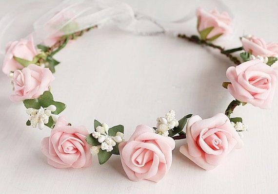 Pink Rose Crown Girls Crown Boho Bridal Halo by NoviaBellaTS