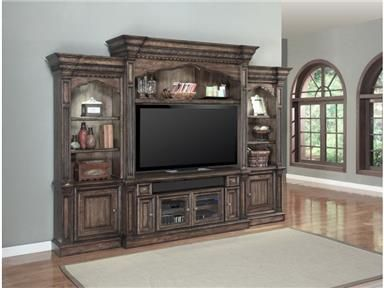5 Piece Entertainment Wall   Antique Vintage Smoked Pecan   TV Watching  Feels Like A Grand Affair When Sitting In Front Of The Impressive Parker  House Aria ...