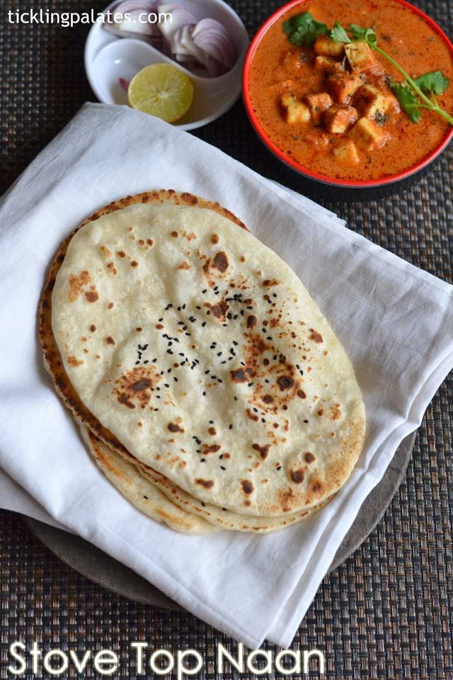 Homemade Naan recipe without yeast – easy and soft dhaba style no yeast naan recipe made on stove top with step by step photos tastes just like cooked on tandoor