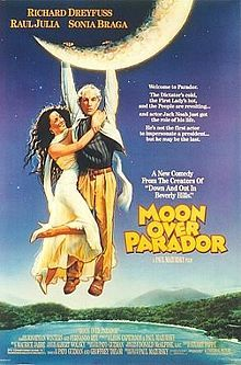 "Moon Over Parador.  Richard Dreyfuss, Raul Julia.  Look-alike actor stands in for notorious foreign dictator.  Much better and way before Kevin Kline's ""Dave."""