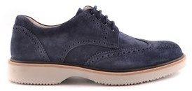 Hogan Men's Blue Suede Lace-up Shoes.