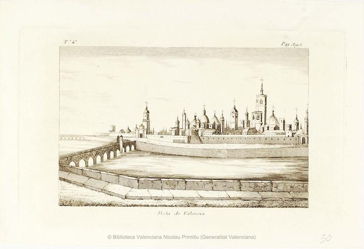 Vista de Valencia (entre 1801 y 1865). 1 estampa : calcografía ; huella de la plancha 13 x 21 cm, en h . de 16 x 23'5 cm