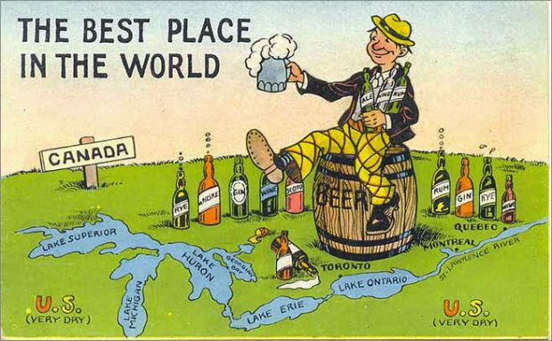 Canadian Postcard by E.L. White (c. 1929-1930). Most of Canada repealed prohibition before the United States did, which created a thriving black market and led to organized crime,