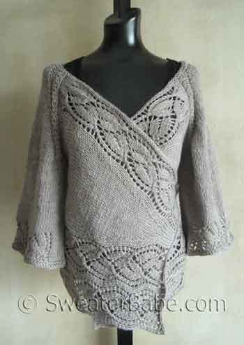 Bestselling Elegant Dramatic Lace Top-Down Wrap Cardigan PDF Knitting Pattern from SweaterBabe.com