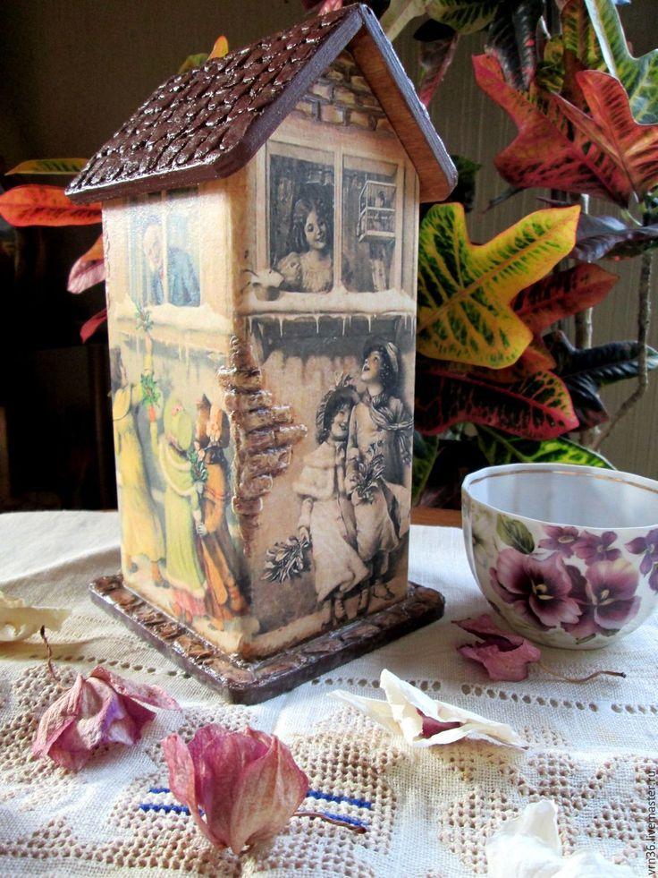 Купить Чайный домик Зимний винтаж - разноцветный, чайный домик декупаж, чайный домик для кухни