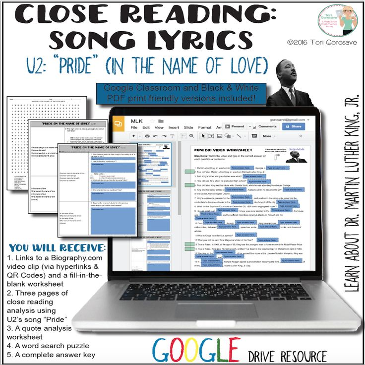 """Digital Google Resource: U2's pop anthem """"Pride"""" Expository Close Song Lyrics (perfect for accompaniment for ANY Martin Luther King, Jr. study) This resource includes: A 16 question fill-in-the-blank worksheet following a Biography.com mini video about Dr. King A 15 question song analysis worksheet on U2's """"Pride"""" A quote analysis worksheet based on some of Dr. King's most famous quotes A word search about Dr. King **PDF print friendly & Google Drive versions included!**"""
