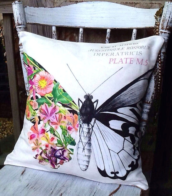 Pillow Cover Summer Butterfly Floral cotton and by JolieMarche #etsy