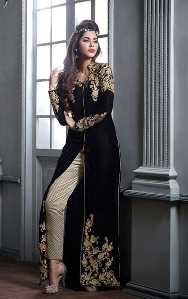 Picture of Gleaming Black Velvet Party Wear Salwar Kameez
