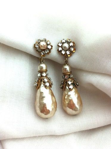 1940 Signed Miriam Haskell Vintage Pearl and Rhinestone Drop Earrings
