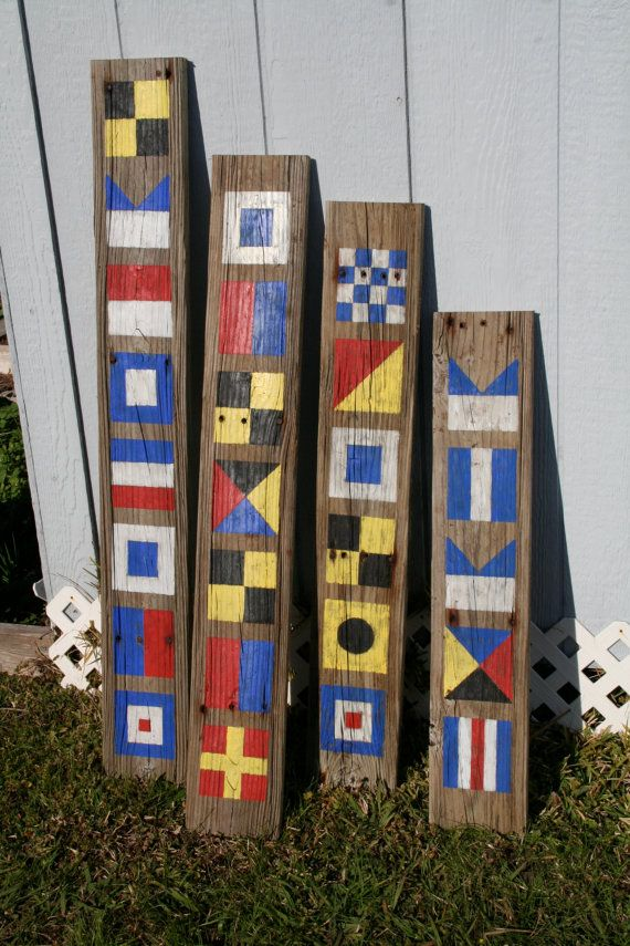 Custom Nautical Flag Sign Name with 5 letters by DocksideCottage, $47.99