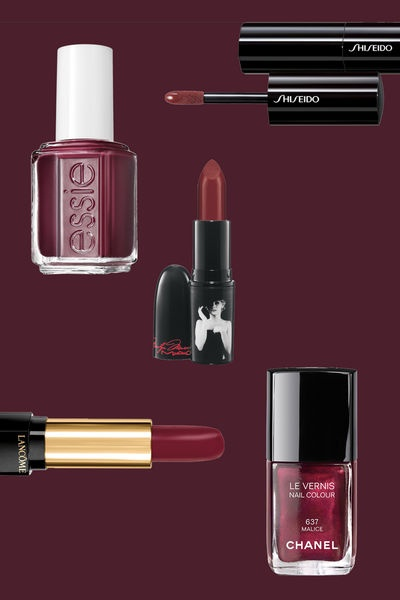 Make-up und Nagellack in der Herbstfarbe Bordeaux  © Foto: Essie, Shiseido, Mac, Chanel, Lancôme