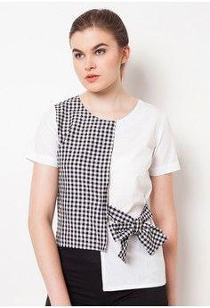 Wanita > Pakaian > Atasan > Blouse > Combination Blouse with Ribbon - Black > QLASSUALE