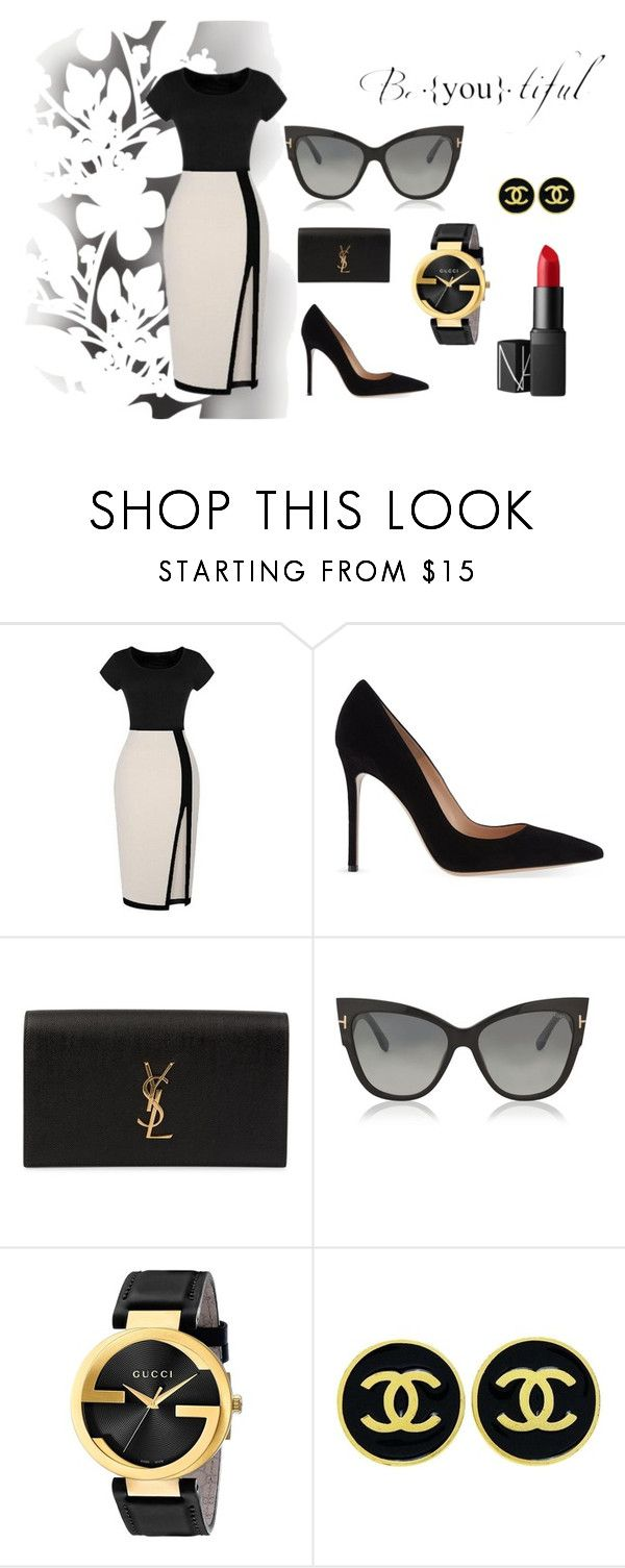 Elegant by ingridlundevall on Polyvore featuring Gianvito Rossi, Yves Saint Laurent, Gucci, Chanel, Tom Ford, NARS Cosmetics and Élitis