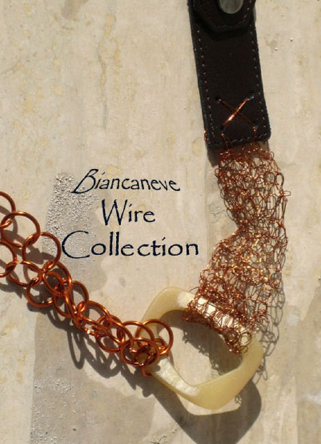 Catena-cintura in in filo di rame crochet, cinturini in pelle e anelle wire : Cinture di ibottonidibiancaneve