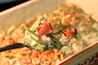 Green Bean Casserole from Deep South Dish blog, made with a homemade, butter roux based cream sauce, enhanced with bacon, fresh vegetables and mushrooms.