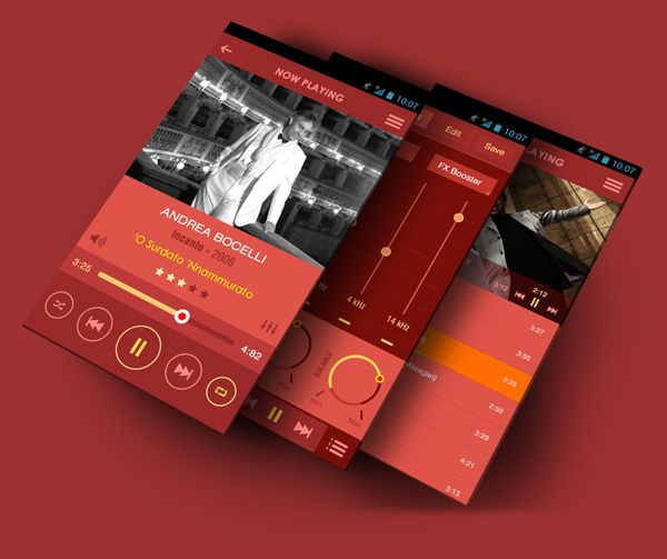 Flat Mobile App Music Player by Yasser Achachi, via Behance