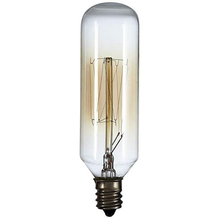 60 Watt T8 Edison Style Tube Candelabra Base Light Bulb - #8W253 | Lamps Plus