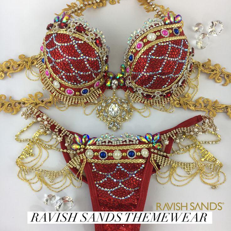 Ravish Sands makes unique Swarovski crystal rhinestone competition bikinis and WBFF Themewear  made custom in the USA by www.ravishsands.com