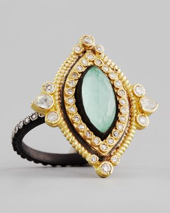 Marquise Green Turquoise & Diamond Ring by Armenta at Bergdorf Goodman.<3156<3