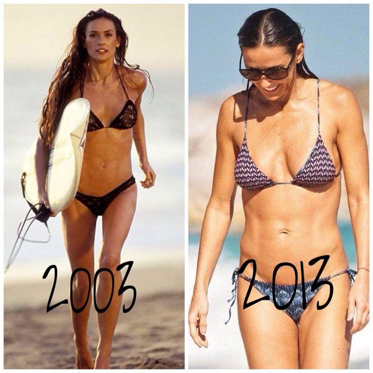 Demi Moore Plastic Surgery Reports | herinterest.com #bikini #beachready #absofsteel