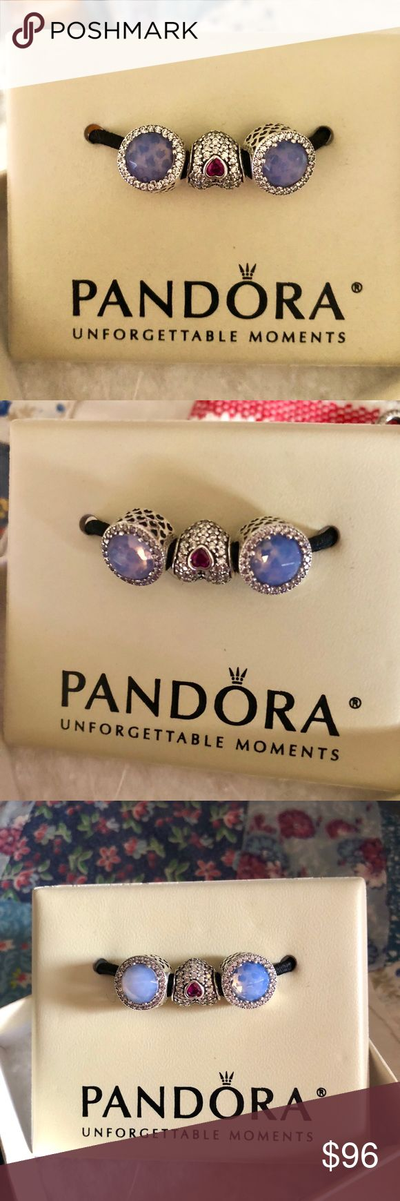 Authentic 2 Pandora Opalescent Radiant Hearts ALE Authentic 2 Pandora Opalescent Radiant Hearts ALE!!!  Includes both pandora Opalescent Radiant Hearts !!! Pandora Box Not Included!!!i can include a regular jewelry store box !!! Pandora Jewelry Bracelets
