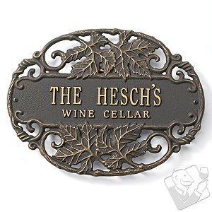 19th Anniversary gift ideas Personalized Bronze Wine Cellar Plaque - lots more ideas here http://www.anniversary-gifts-by-year.com/19th-wedding-anniversary-gift.html