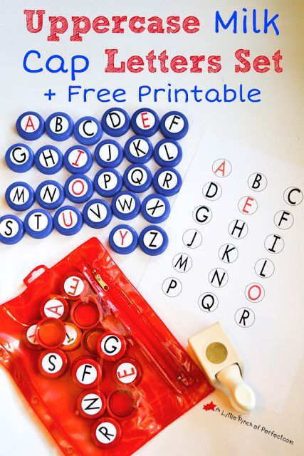 DIY Uppercase Milk Cap Letter Set and Free Printable-Homemade language arts manipulatives for learning letters, reading, and writing