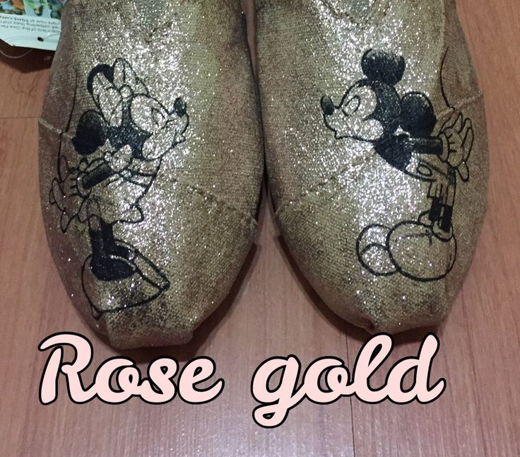 ROSE GOLD Mickey & Minnie Sketch Toms [Disney Wedding Shoes] Mickey Shoes. Rose Gold Minnie. Mickey and Minnie Kissing by ButterMakesMeHappy on Etsy https://www.etsy.com/listing/479015934/rose-gold-mickey-minnie-sketch-toms