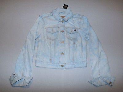 Hollister Women's Classic Fit Destroyed Acid Light Wash Denim Jacket Small NWT