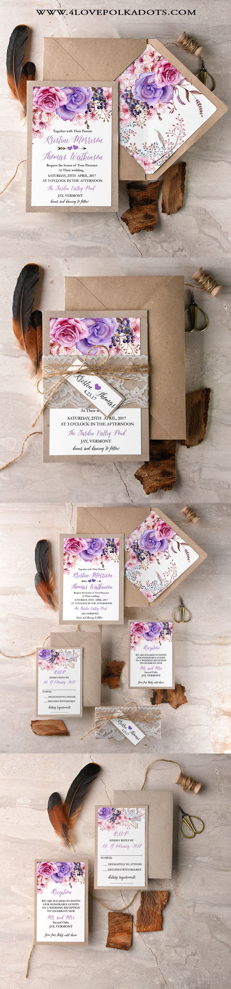 Boho Wedding Invitations - Lace & Twine, Eco Papers and colorful floral printing #boho #weddingideas #rusticwedding