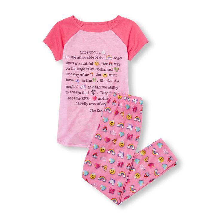 Girls Short Raglan Sleeve Enchanted Emoji Story Top And Printed Pants PJ Set