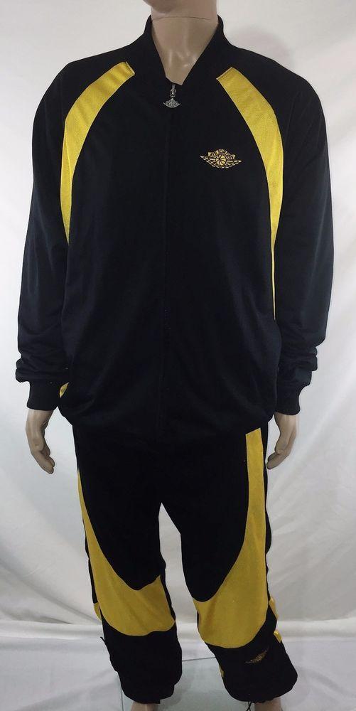 RARE Air Jordan Sweat Jacket Pants Suit Black Yellow US Men M Reversible 1985 #AirJordan #TrackSweatSuits